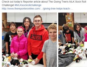 Giving Tree helps teach children to give back; MLK Day of Service project makes sock rolls
